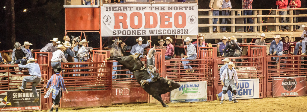 Bull Riding at Spooner Rodeo, Washburn County; Photo: James Netz Photography